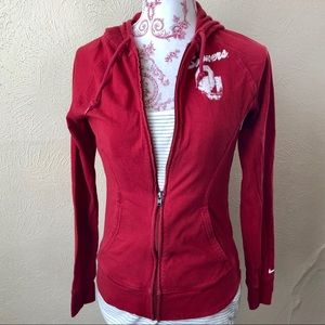 Nike OU Sooners Zip Up Hoodie S Crimson Cotton